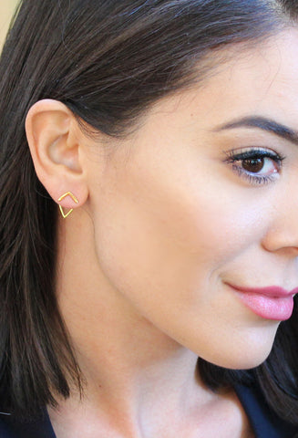Asian model wearing Trill 18K Gold Vermeil Earrings by Sonia Hou Jewelry