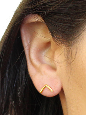 Female Model Wearing TRILL 18K Vermeil Gold Wishbone Earrings by SONIA HOU Jewelry