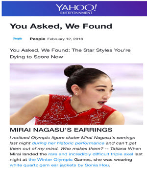 SONIA HOU Jewelry was featured on YAHOO for designing the earrings that the U.S. Figure Skaters wore at the Winter Olympics '18.