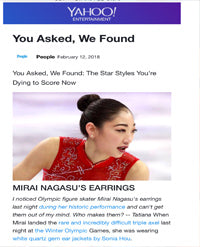 SONIA HOU Jewelry's celebrities / press exposure includes YAHOO featuring Olympic U.S. Figure Skater Mirai Nagasu Wearing Her FIRE Earrings