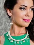 Female Model Wearing ANGEL 14K Gold Threader Drop Earrings In Ivory White Freshwater Pearls by SONIA HOU Jewelry