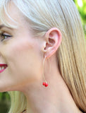 Female Model Wearing Our ANGEL 14K Gold Thread Drop Earrings In Red Cherries by SONIA HOU Jewelry
