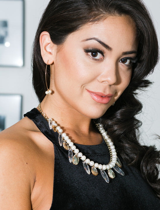 Female Model Wearing Our ANGEL 14K Gold Threader Drop Earrings In Ivory White Swarovski Pearl by SONIA HOU Jewelry