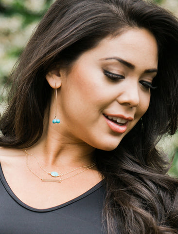 ANGEL 14K GOLD THREAD DROP EARRINGS IN TURQUOISE BLUE