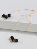ANGEL 14K Gold Threader Drop Earrings In Black Jet by SONIA HOU Jewelry