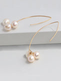 ANGEL 14K Gold Threader Drop Earrings In Freshwater Ivory Pearls by SONIA HOU Jewelry