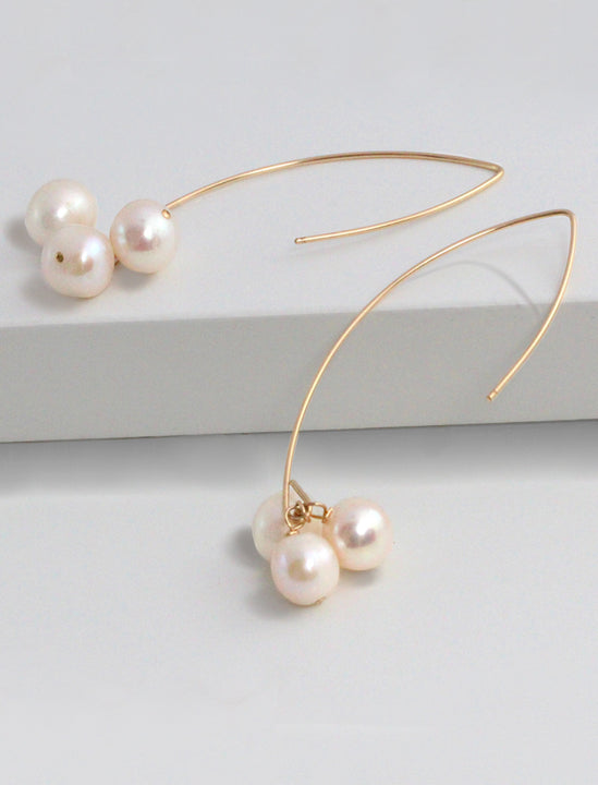ANGEL 14K Gold Threader Drop Earrings In Ivory White Freshwater Pearls by SONIA HOU Jewelry