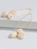ANGEL 14K Gold Threader Drop Earrings In Ivory White Gemstone by SONIA HOU Jewelry