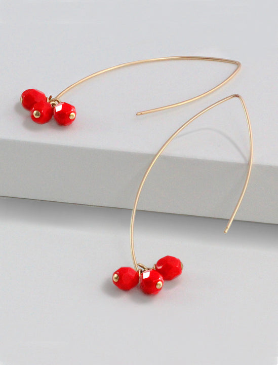 ANGEL 14K Gold Threader Drop Earrings In Red Cherries by SONIA HOU Jewelry