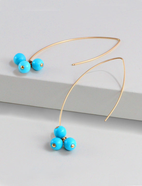 ANGEL 14K Gold Threader Drop Earrings In Turquoise Cherries by SONIA HOU Jewelry