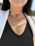 Female model wearing C.E.O. CHOKER STATEMENT NECKLACE IN STERLING SILVER BY SONIA HOU JEWELRY
