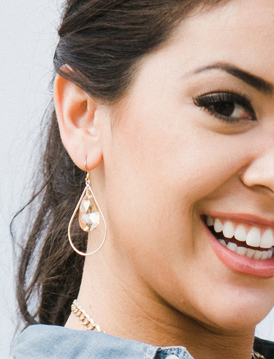 Swarovski Crystal Dangle Champagne Nude Earrings In 14K Gold Filled