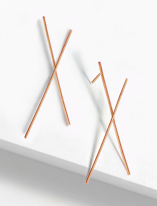 LONG CHOPSTICK EARRINGS IN 18K ROSE GOLD VERMEIL