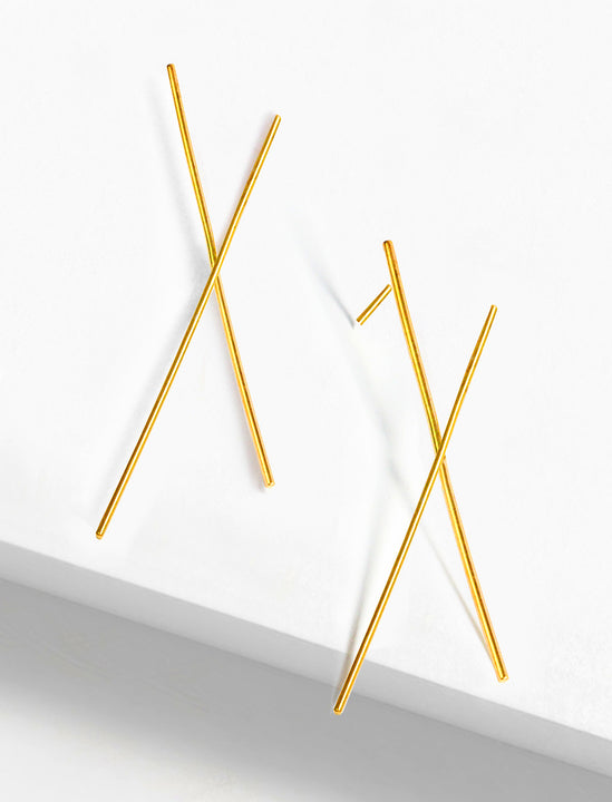 Chopsticks Minimalist Earrings in 18K Gold Vermeil by Sonia Hou Jewelry