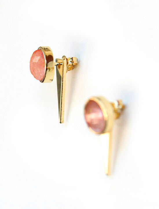 FIRE Side View of 3-Way Convertible 24K Gold Pink Earring Jackets In Coral Gemstone by SONIA HOU Jewelry