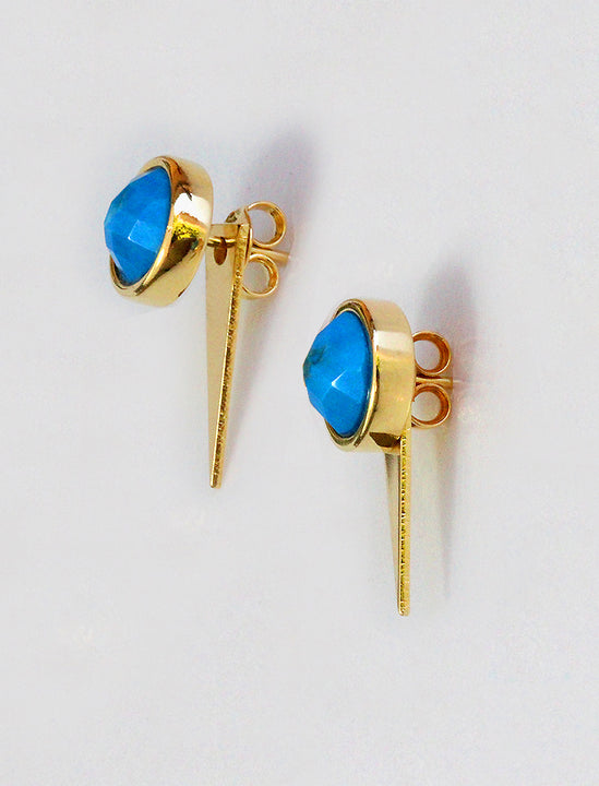 Side View of FIRE 3-Way Convertible Gemstone Gold Earring Jackets In Turquoise Gemstone by SONIA HOU Jewelry