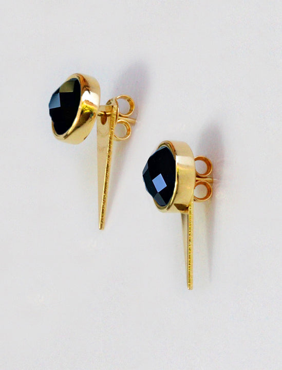 FIRE 3-Way Convertible 24K Gold Ear Studs in Black Onyx Gemstone by SONIA HOU Jewelry