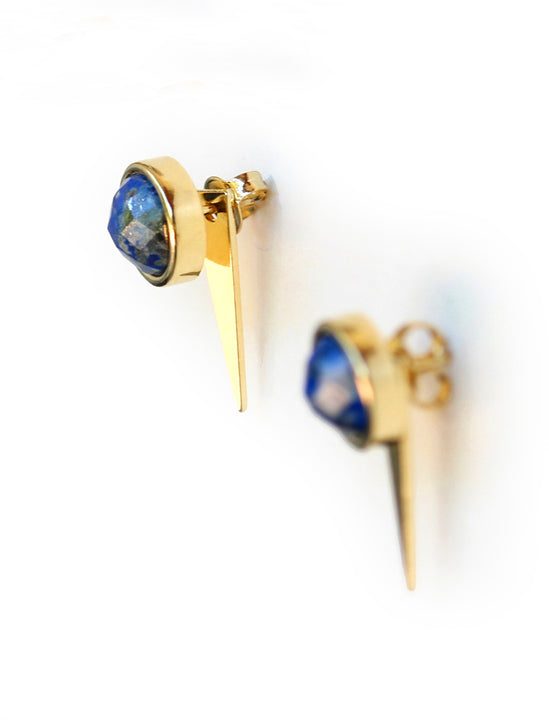 FIRE 24K Gold Blue Earring Jackets In Denim Lapis Lazuli Gemstone by SONIA HOU Jewelry
