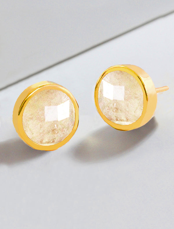 FIRE WHITE QUARTZ  STUD EARRINGS IN 24K GOLD