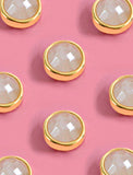 FIRE 3-Way Convertible 24K Gold White Quartz Stud Earrings by SONIA HOU Jewelry
