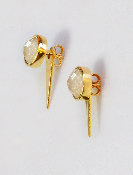 FIRE 3-Way Convertible 24K Gold White Earring Jackets in Quartz by SONIA HOU Jewelry