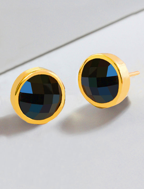 FIRE BLACK ONYX STUDS IN 24K GOLD