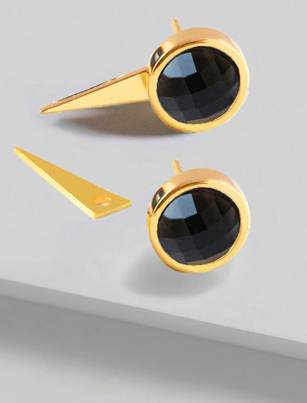FIRE 3-WAY BLACK ONYX EARRING JACKETS IN 24K GOLD