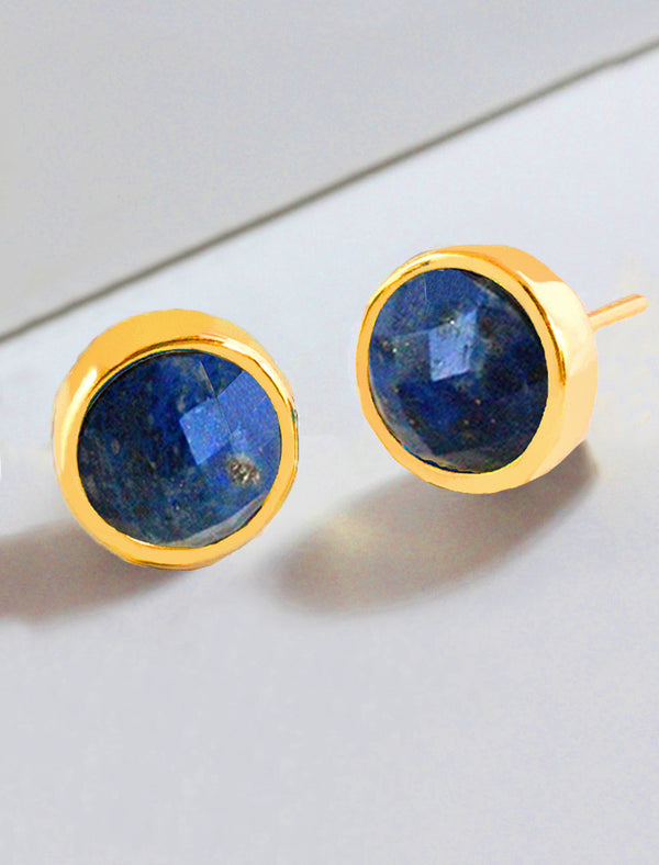 FIRE LAPIS LAZULI STUD EARRINGS IN 24K GOLD