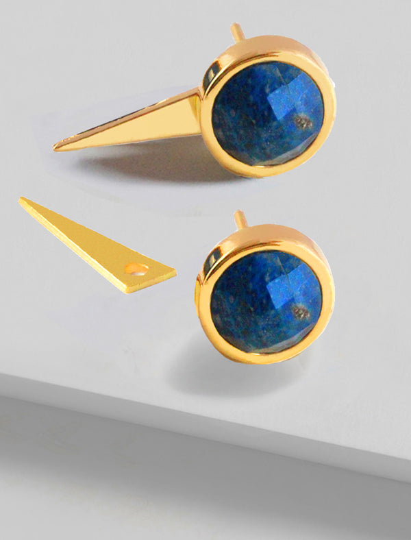 FIRE 3-WAY BLUE LAPIS LAZULI EARRING JACKETS IN 24K GOLD