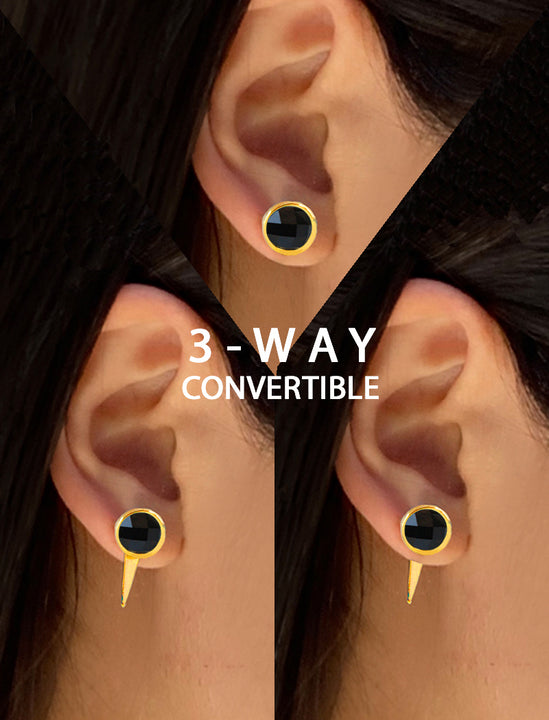 Female Model Wearing FIRE 3-Way Convertible 24K Gold Black Earring Jackets in Onyx Gemstone by SONIA HOU Jewelry