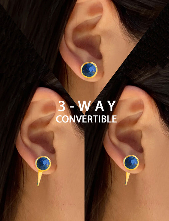 FIRE 3-WAY CONVERTIBLE BLUE LAPIS LAZULI EARRING JACKETS IN 24K GOLD