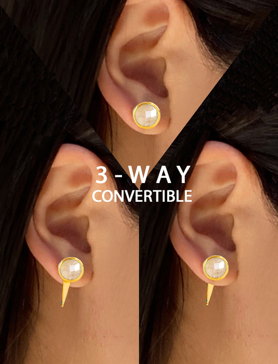 Female model wearing FIRE 3-Way Convertible 24K Gold White Stud Earring Jackets in Quartz by SONIA HOU Jewelry