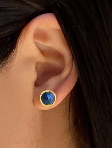 FIRE LAPIS LAZULI STUD EARRINGS | 24K GOLD