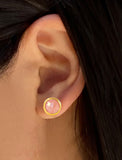 Female Model Wearing FIRE 3-Way Convertible 24K Gold Stud Earring Jackets In Pink Coral Gemstone by SONIA HOU Jewelry