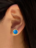 Female model wearing Fire 24K Gold Blue Earring Studs in Turquoise Gemstone by Sonia Hou Jewelry