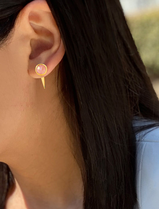 Asian female model wearing FIRE 3-Way Convertible Gemstone Gold Stud Earring Jackets In Pink Coral by SONIA HOU Jewelry
