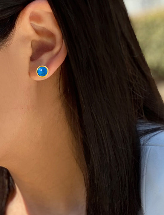 Asian Female model wearing Fire 24K Gold Blue Earring Studs  in Turquoise Gemstone by Sonia Hou Jewelry