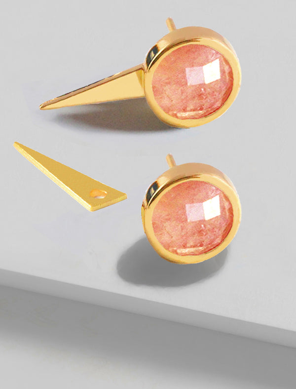 FIRE 3-WAY CONVERTIBLE PINK CORAL EARRING JACKETS IN 24K GOLD