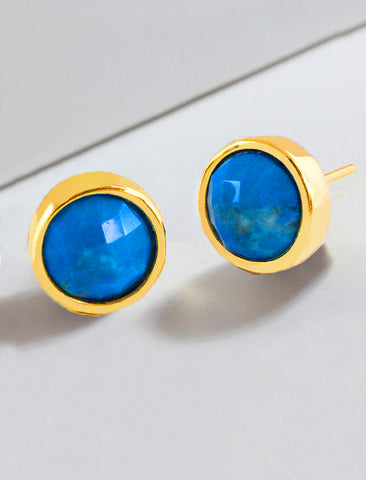 FIRE TURQUOISE ROUND GEMSTONE STUD EARRINGS IN 24K GOLD