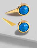 FIRE 3-Way Convertible Gemstone Gold Earring Jackets In Turquoise Gemstone by SONIA HOU Jewelry