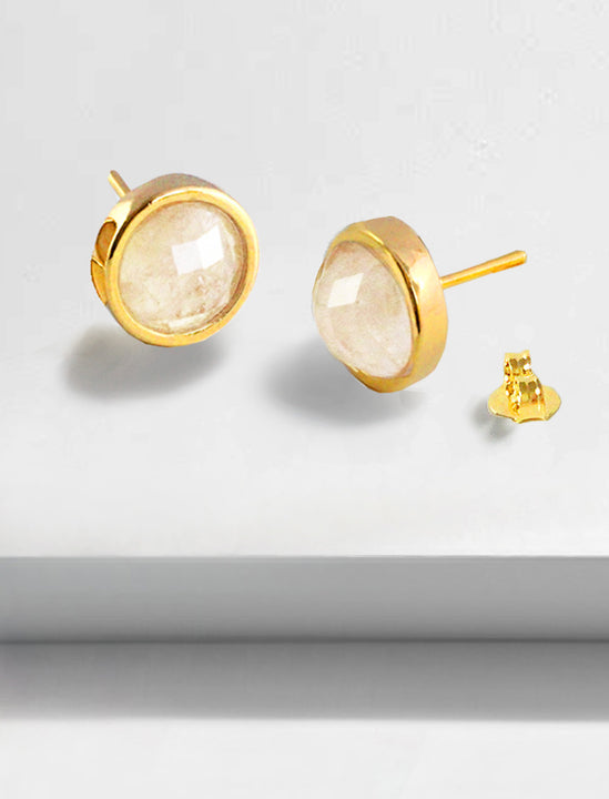 FIRE 3-Way Convertible Gemstone Gold Earring Jackets In White Quartz Gemstone by SONIA HOU Jewelry