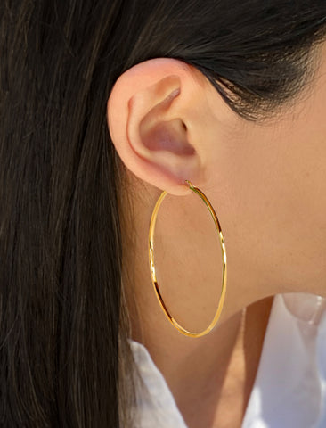 ETERNITY 18K GOLD HOOP VERMEIL EARRINGS