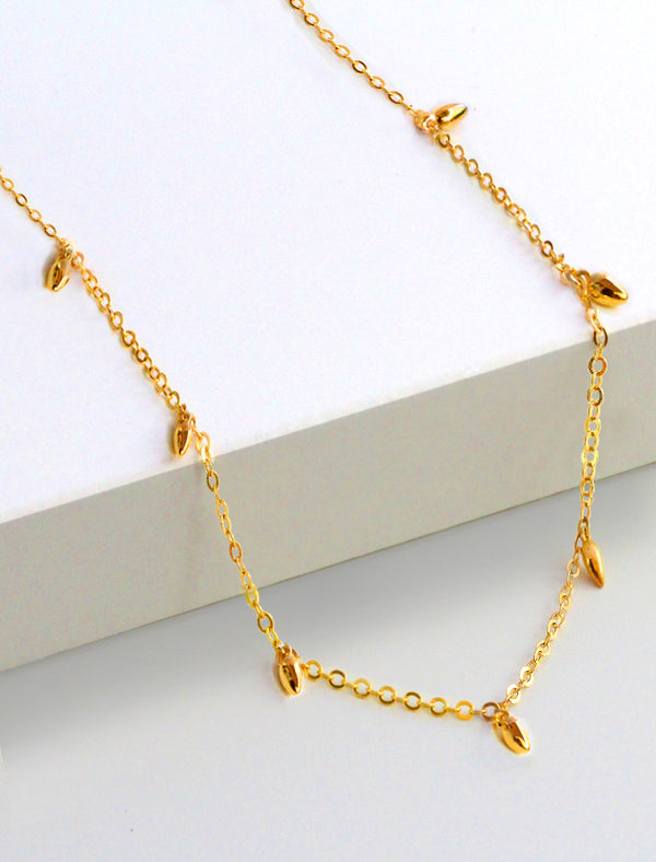 RICE BEAD THIN CHAIN NECKLACE | 18K GOLD VERMEIL