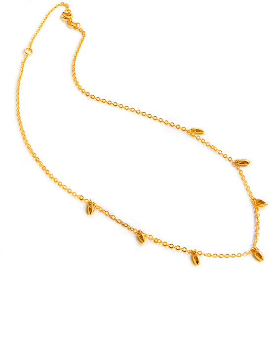 Thin RICE Bead Minimalist Chain Necklace in 18K Gold Vermeil by Sonia Hou Jewelry