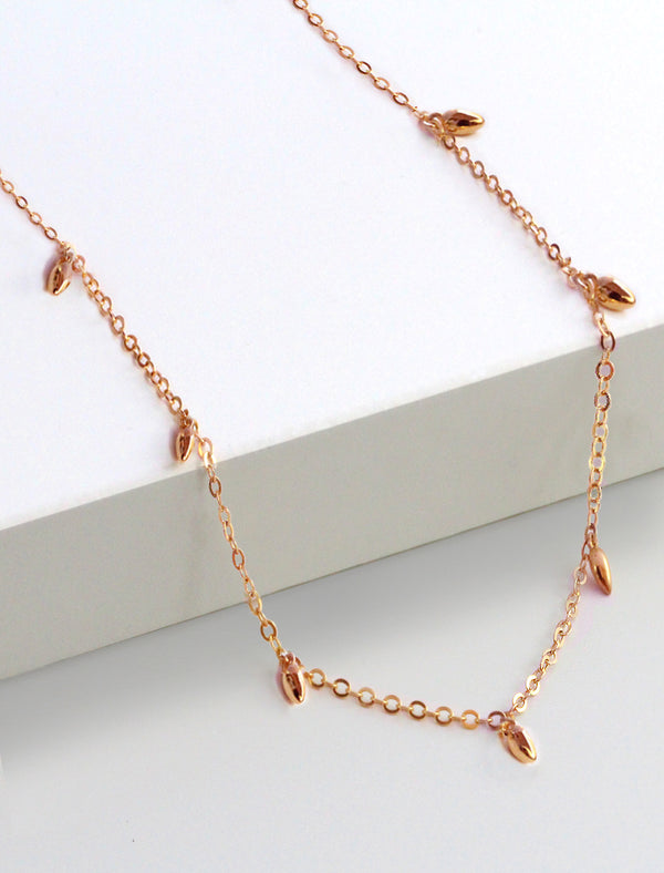 RICE BEAD THIN CHAIN NECKLACE IN 18K ROSE GOLD VERMEIL