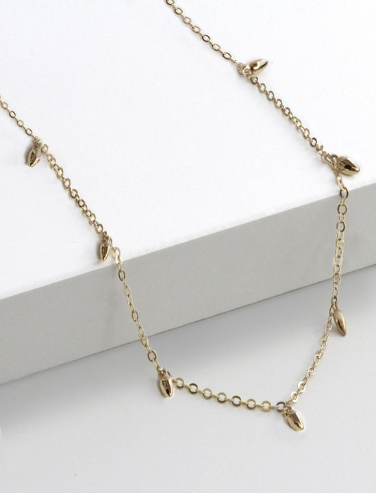 Thin RICE Bead Minimalist Chain Necklace in 925 Sterling Silver by Sonia Hou Jewelry