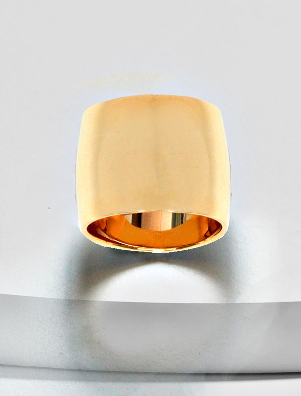 RICH THICK BAND RING IN 18K ROSE GOLD VERMEIL