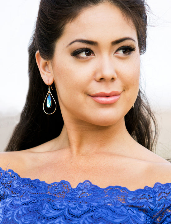 Female Model Wearing SELFIE 14K Gold Teardrop Earrings in Mermaid Blue Swarovski Crystals by SONIA HOU Jewelry