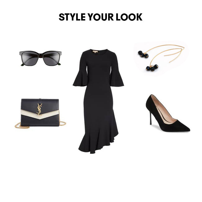 Women Fashion Outfit ensemble features black dress, shoes, black gold threader drop earrings
