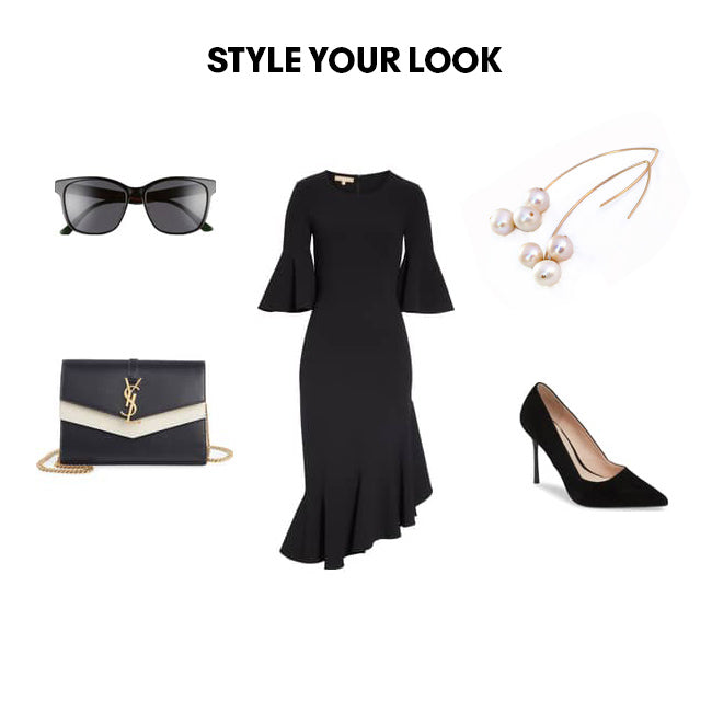 Woman Outfit Fashion Ensemble featuring freshwater pearl gold dangle threader drop earrings, black dress, shoes and purse